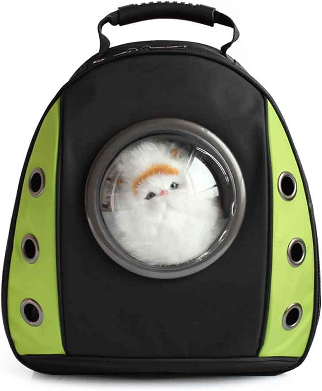 ACLBB Pet transparent backpack, travel backpack, portable space capsule design, cat and puppy,Green