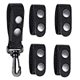 """Duty Belt Keeper with Double Snaps(Set of 4) +1 Keeper With Strong Plastic Key Clip(1 Pack)for 2""""and 2¼"""" Wide Belt Security Tactical Belt Police Military Equipment Accessories"""