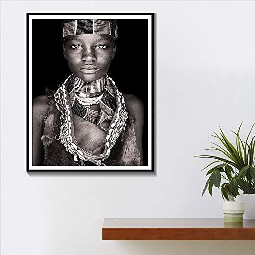 wZUN Arte de Pared de Mujer Africana Retrato decoración del hogar Carteles e Impresiones en Blanco y Negro Sala de Estar Pintura Cuadros de Pared 60x80 Sin Marco