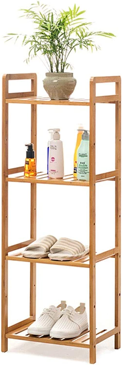 Multi-Function Floor Rack Living Room Balcony Height-Adjustable Storage Rack Kitchen Bathroom Solid Wood Combination Multi-Layer Partition Shelf (color   Four Storey, Size   35CM)