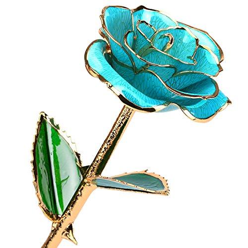 24k Gold Rose Birthday Gift for Women, Flower Rose Dipped in Gold with Long Stem Gift for Women Girls on Birthday, Valentine's Day, Mother's Day, Christmas (Light Blue)