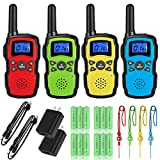 Wishouse Adults Walkie Talkies Rechargeable with 2 Usb Chargers 4X3000mAh Batteries Lanyards,Portable FRS 2 Way Radio Long Range,Family Walky Talky 4 Pack for Hiking Camping,Xmas Birthday Gift Present
