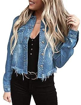 LookbookStore Women Tassel Raw Hem Denim Jacket Basic Long Sleeves Button Down Raw Hem Fitted Denim Jean Jackets for Women Trucker Jacket Light Blue Size S