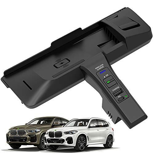Braveking1 Nuevo Cargador Inalámbrico Coche Auto para BMW X5(F15) X6(F16) 2014 2015 2016 2017 2018 Consola Central Panel, 15W Qi Carga Rápida Teléfono Cargador con USB y 18W PD para iPhone Samsung