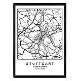 Nacnic Blade Stuttgart Stadtkarte nordischen Stil schwarz