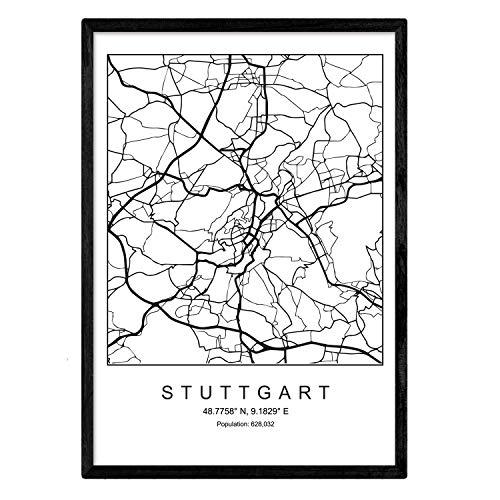 Nacnic Minimalistische Stadtplanen Poster. Geometrische Stil Wanddekoration Abbildung von Stuttgart. Verschiedene Deutsche Stadtkarten, Plänen und Reisen Bilder ohne Rahmen. Größe A4.