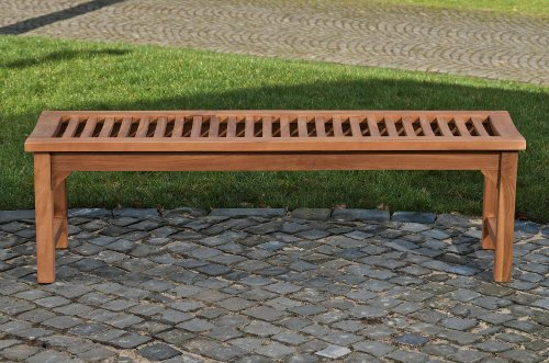 CLP Teakholz Garten-Bank HAVANA V2 ohne Lehne, Teak-Holz massiv (bis zu 8 Größen wählbar) 240 x 45 x 45 cm - 3