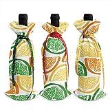Lot de 3 housses pour bouteille de vin citron et orange Taille unique comme sur l'image