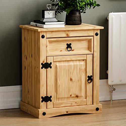 Vida Designs Corona Nachtschrank mit Schublade und Tür Beistelltisch Abstelltisch Ablage Lampe Pinie Massivholz