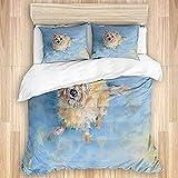 CANCAKA Bedding Juego de Funda de Edredón,Cairn Terrier Retrato de Mascota Perro de Rescate Cachorro Mill Comisión Rosa Azul Claro,Microfibra Funda de Nórdica y 2 Fundas de Almohada-(Cama 220x240cm)
