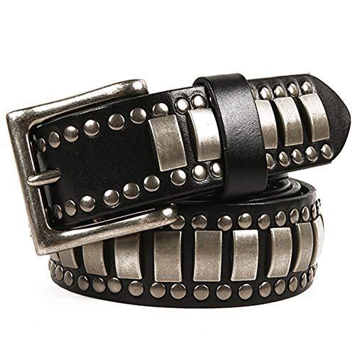 Cinturones de Cuero con Tachuelas para Hombre Cuero de la manera unisex tachonado cinturón de alta calidad punky del estilo de la correa ancha 3.8cm Correa ocasional de medida adaptable Cinturones de