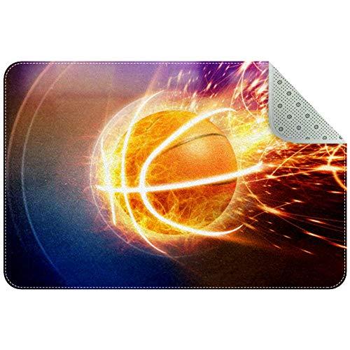 Yoliveya - Felpudo suave, diseño de llama de fuego y baloncesto, absorbente, antideslizante, alfombra de goma para el hogar y la oficina de 24 x 16 pulgadas, Varios Colores, 60x40cm/24x16in