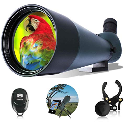 HD Spotting Scope with Tripod 20-60x80mm Hollee IP67 Waterproof Angled Eyepiece Telescope BAK4 Prism 1000yds for Target Shooting Hunting Astronomy Bird Wildlife Scope Phone Adapter & Bluetooth Clicker