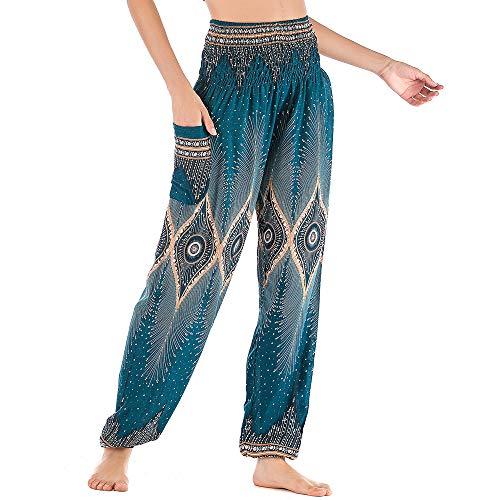 Nuofengkudu Femme Harem Coton Pantalon Sarouel avec Poches Taille Haute Baggy Boheme Fleuri Imprimer Aladin Yoga Pants Confortable Pyjama Été Plage(Vert Oeil,Taille Unique)