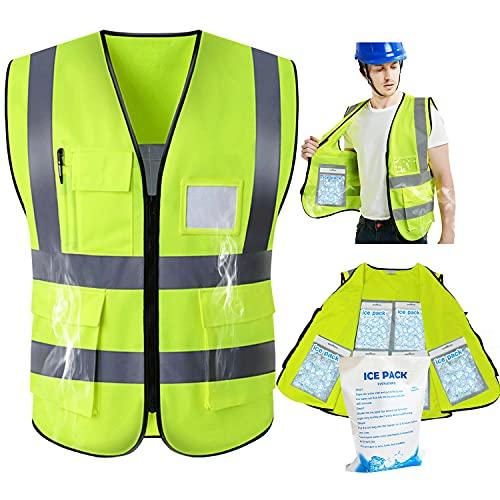 Safety Vest Reflective Cooling Safety Vest High Visibility Work Vest with Ice Packs Construction...