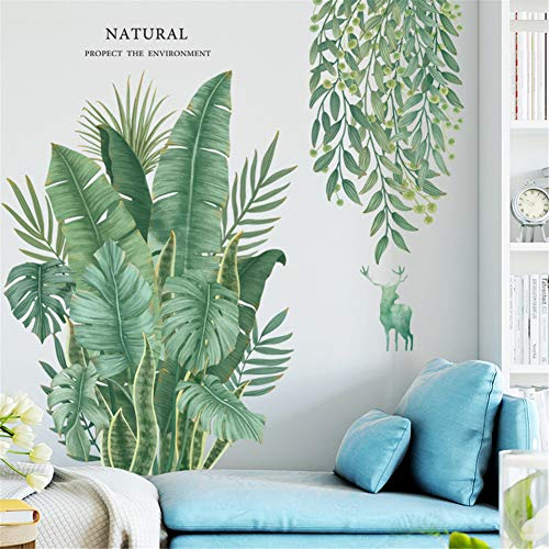 LucaSng DIY Groß Wandtattoo Wandaufkleber, Grüne Pflanze Blätter Schildkrötenblatt Wandsticker Wanddeko für Wohnzimmer Schlafzimmer Flur Kühlschrank (Stil A)