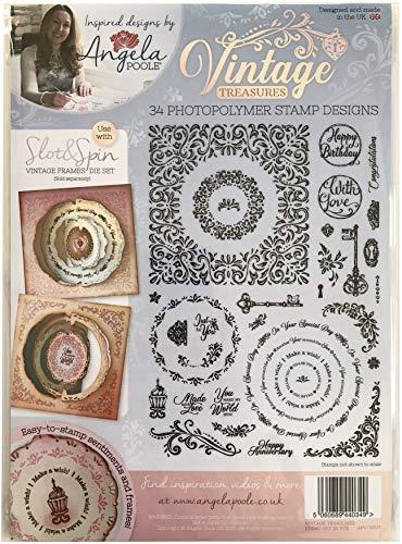 Angela Poole APVTSS03 Vintage Treasures-Clear Stamp transparentes Stempel-Set, A4