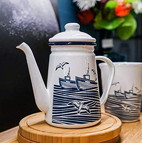 KANJJ-YU Cast Iron Teapot Cast Iron Teapots Iron Kettle Enamel Coffee Pot 1.1L Kettle