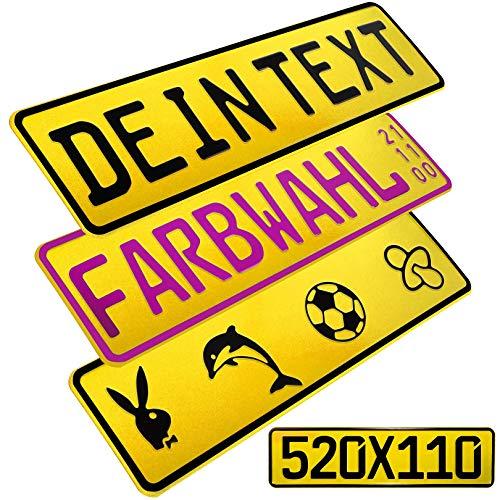 L & P Car Design FKZ 1 Stück Fun Kennzeichen 52cm x 11cm Wunschtext Bohrung Beschichtungsfarbe Individuell Wunschkennzeichen Wunschprägung Namenskennzeichen Namensschild Farbe GELB
