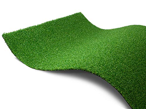 Kunstrasen Rasenteppich Grün WELLNESS - 100 x 100 cm, Wasserdurchlässiger, UV-Beständiger Outdoor Teppich, Bodenbelag für Boote, Balkon & Terrasse, Mini Golf Rasen