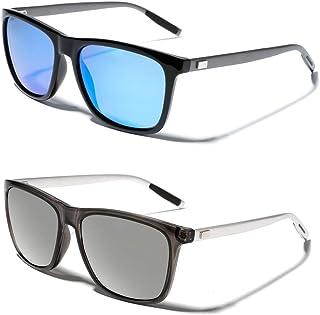 TIJN Polarized Sunglasses for Women Men Driving Rectangular Aluminum Sun Glasses UV 400 Protection