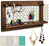VIEFIN Upgrade Wall Mounted Mesh Jewelry Organizer Brown,Rustic Wood Jewelry Display Organizer Earring Necklace Holder with Shelf and Hooks,Wall Jewelry Hanger with Removable Rod for Bracelet