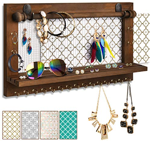 VIEFIN Wall Mounted Mesh Jewelry Organizer, Rustic Brown Wood Chic Earring Holder with Shelf,...