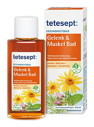 tetesept Gelenk & Muskel Bad – Wohltuendes Gesundheitsbad mit 5 ätherischen Ölen – Flüssiger Badezusatz zur wohltuenden Entlastung – 1 x 125 ml