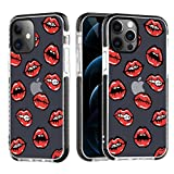 OOK Clear Compatible with iPhone 12 Case/Compatible with iPhone 12 Pro Case, Military Grade Drop Test [Anti-Yellowing] Shockproof Protective Phone Case Slim Thin Cover 6.1 Inch 5G 2020 - Bisous Lips