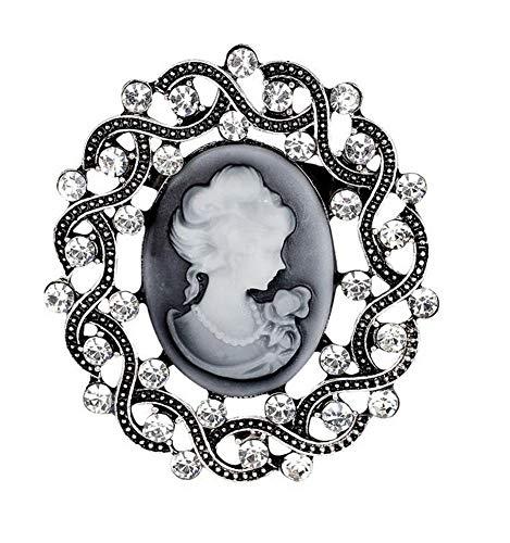 Broche para mujer con diseño de camafeo y brillantes, color blanco
