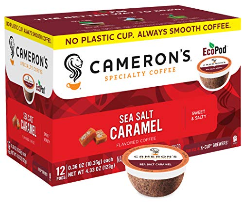 Cameron's Coffee Single Serve Pods, Flavored, Sea Salt Caramel, 12 Count (Pack of 6)
