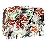 Bolsa de Maquillaje de Viaje portátil,Patrón sin Fisuras de pájaro de grúa Japonesa ,Bolsa de cosméticos para Mujeres,Bolsa organizadora de Maquillaje con Cremallera de Belleza