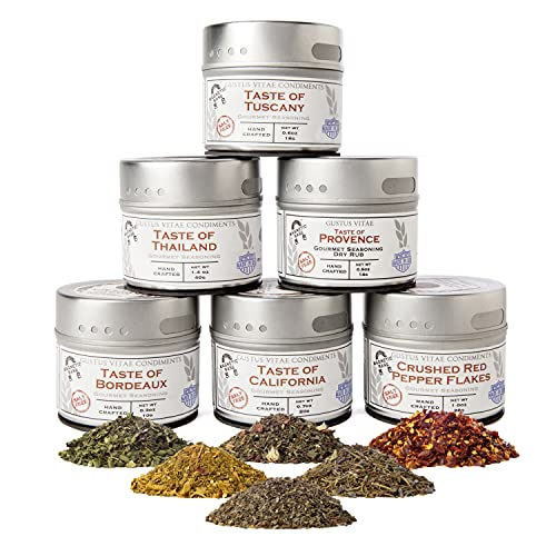 Salt-Free Gourmet Seasoning Collection   Non-GMO   6 Magnetic Tins   Small Batch Spice Blends