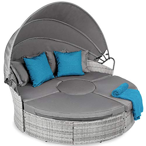 Best Choice Products 5-Piece Modular Patio Wicker Daybed Sectional Conversation Lounger Set w/ 2-in-1 Setup, Adjustable Seats, Clips, Retractable Canopy, Cover, Weather-Resistant Cushions - Gray