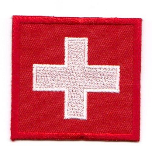 Aufnäher Bügelbild Aufbügler Iron on Patches Applikation Flagge Schweiz 3,5 x 3,5cm Vor20-17-M