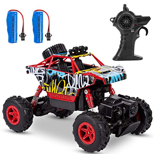 ThinkMax Carro de Control Remoto Rock Crawler, 2,4 GHz 1:20 Coche RC, 4WD Off-Road RC Monster Truck con 2 Pilas Recargables