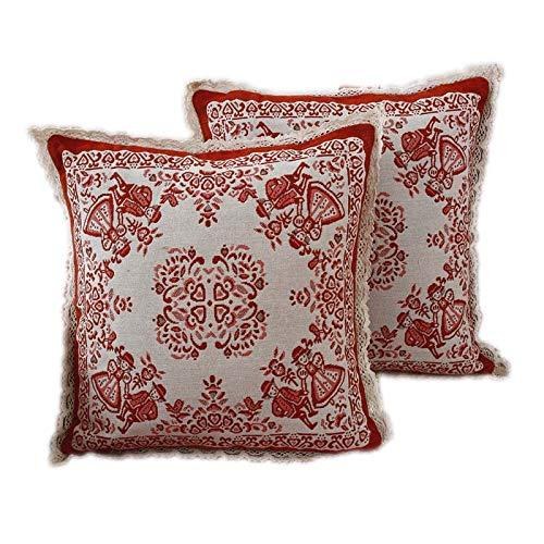 ASADVE - Funda de Almohada de Lino para sofá, Almohada Cuadrada de cáñamo de algodón, no Contiene Almohada de Tela