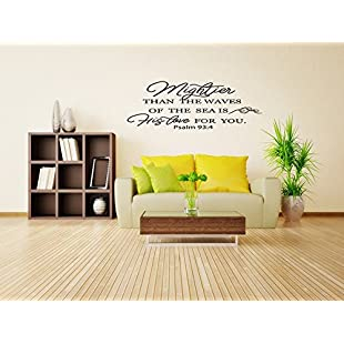 Wall Quotes Decals Stickers Vinyl Than The Waves of The Sea Christian Paslm 934 Bible Verse Home Decor Mural Art for Bedroom Living Home Family:Delocitypvp