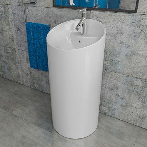 Kerabad Keramik Standwaschbecken Waschtisch Waschsäule Säulenwaschbecken weiß glänzend KBE8