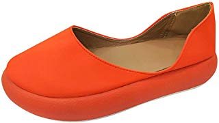 Kauneus Women Round Toe Platform Slip-on Loafers Comfort Leather Casual Shoes Wedge Walking Shoes