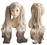Cfalaicos Grey Apricot Cosplay Wig + 2 Clip on Ponytails with Free Wig Cap