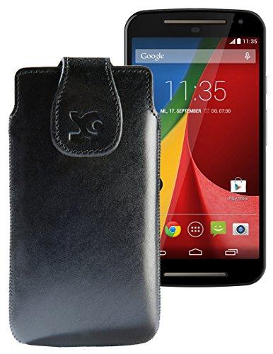 Original Suncase Tasche für / Motorola Moto X 2014 (2. Generation) / Leder Etui Handytasche Ledertasche Schutzhülle Hülle Hülle / in schwarz