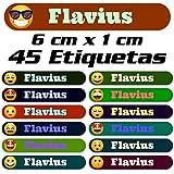 45 Etiquetas Adhesivas Personalizadas con Emojis para marcar objetos, libros, fiambreras, etc. Medida 6 x 1 cm