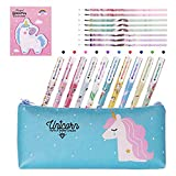 Dsaren 20 Pcs Unicorn Stationery Set Pencil Case Colorful Unicorn Pens Sticky Notes and Black Ink Refills, Birthday Gifts for Kids Girls Student School Supplies (Light Green)