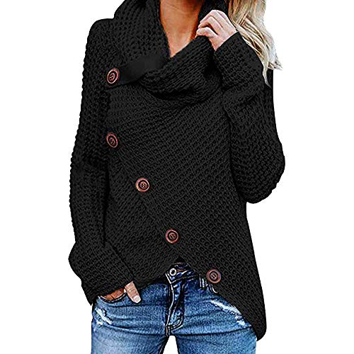 TWIFER Damen Knopf Langarm Shirt Sweater Sweatshirt Mädchen Pullover Bluse