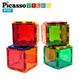 PicassoTiles PT27 Magnetic Building Blocks 27 Piece Alphabet Toy Set Magnet Tiles Construction Toys 3D Clear Color Stacking Block Toy STEM Playboard, Learning By Playing, Creativity Beyond Imagination