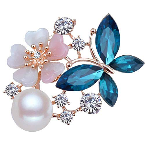 Bodhi200 0 elegantes broches de mariposa con perlas de imitación, para bufanda, accesorios de joyería para mujeres y señora