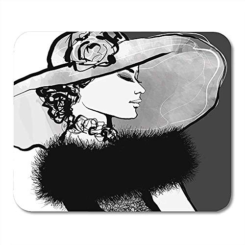 Mause Mat Spielmatte 20S Junge Frau Hut Und Pelz 1920S 30S Attraktive Schöne Schönheit Mauspad 25X30Cm