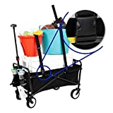 SEINA Collapsible Folding Wagon with Straps | Utility Cart, Portable, Lightweight, Fold up, for Groceries, Laundry, Sports, Baseball, Softball, Fishing and Camping, with Carry Case, Black
