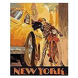 CBYLDDD Conoce la Pintura romántica de New York Nueva Pintura por los números Flor en la Lona Fotos por números Decoración del hogar DIY Minimalismo Style 16x24in Sin Marco